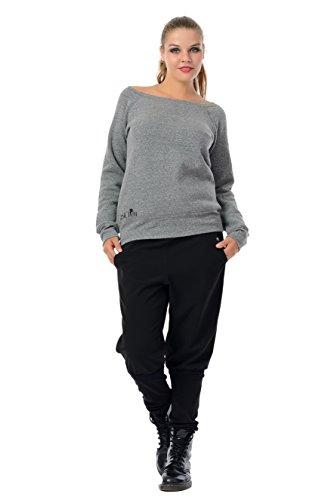 maglione donna con scollatura barca / felpa / sweater stampa luna fata da 3Elfen , grigio nero,, XL