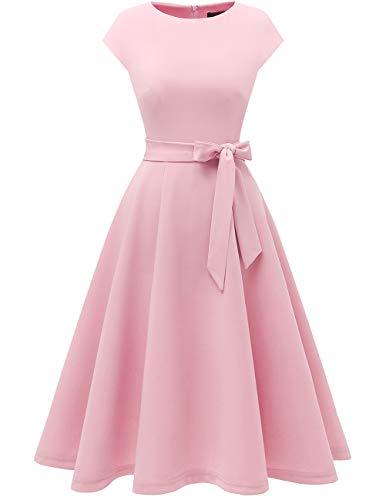 Damen Jacke Grace (Dresstells Midi 1950er Vintage Retro Rockabilly Kleid Damen elegant Hochzeit Cocktailkleid Pink 3XL)