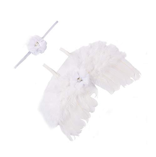 moinkerin Niñas bebés Disfraces fotografía Costume Outfits, La Pluma Del Ángel Alas con Cinta de cabeza (blanco)
