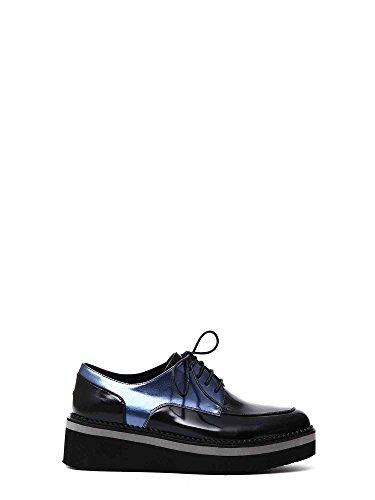 Cafè Noir CAF Chaussures Noir EF131 Derby Noir Femmes Lacets en Cuir de Plate-Forme