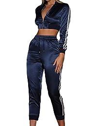 Chaquetas Sección Corta Mujer Sexy Pantalones Cortos Cintura Alta Blusa Cremallera Manga Larga Cuello Redondo Pantalones Cintura Elástica Sportwear 2 Piezas Trajes