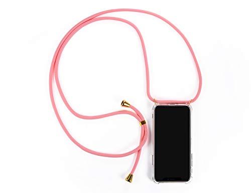 LUZAL Handyhülle mit Band zum Umhängen kompatibel für iPhone X/XS / 10 - Mit Band Schutzhülle zum Umhängen Urlaubszubehör (iPhone X/XS / 10, rosa-Silber) 10 Band