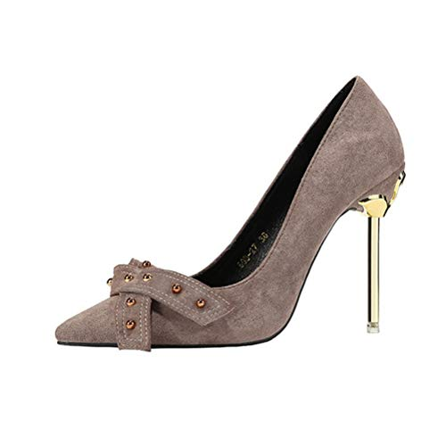 Frauen High Heels geschlossen Toe Metal Court Shoes Fashion Suede Pointed Toe Pumps Slip On Stilettos Patent Metal Heels Stiletto Pump