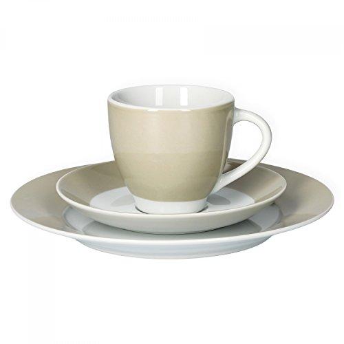 Van Well Kaffeeservice 18-tlg. für 6 Personen Serie Vario Porzellan - Farbe wählbar, Farbe:beige