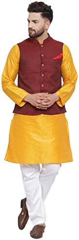 NEUDIS by Dhrohar Silk Kurta Pajama With Nehru Jacket Set For Men- Maroon