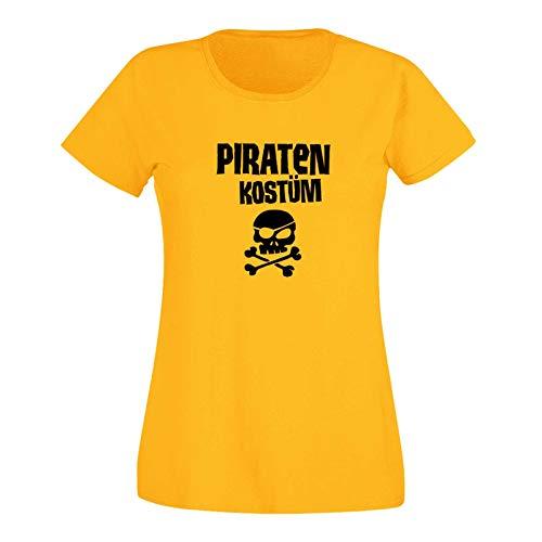 Gruppe Für Kostüm 15 - T-Shirt Piratenkostüm mit Augenklappe Karneval Fasching Damen 15 Farben XS - 3XL Rosenmontag Weiberfastnacht Gruppen-Kostüm, Größe:S, Farbe:gelb - Logo schwarz