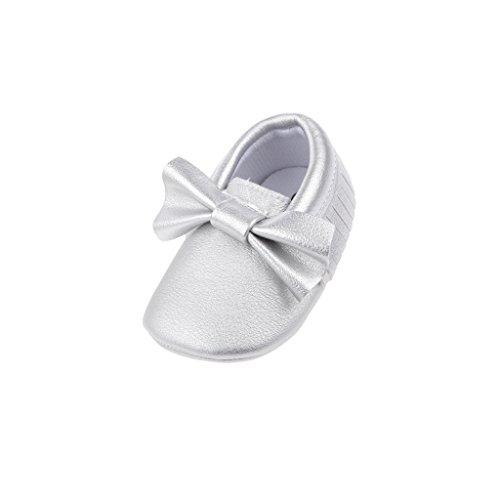 Baby Kinder Bowknot pu Leder Lauflernschuhe Krabbelschuhe Babyschuhe - Silber, 12cm Silber