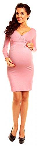 Zeta Ville - Maternité - Robe Grossesse - Décolleté Cache-C?ur - Femme -285c Poudre Rose