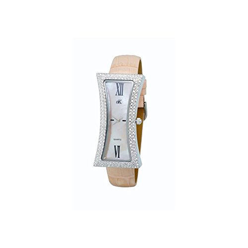ADEE Kaye Women's Curvy Pink Leather Band Brass CASE Quartz Watch AK9715-LPK