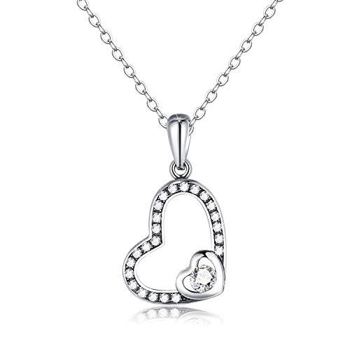 Echte 925 Sterling Silber Herz Anhänger Halskette mit 5A Zirkonia, Kristall Halskette für Weihnachten Muttertag Valentinstag Geschenke, 41 + 5cm Verlängerungskette (Weiß)