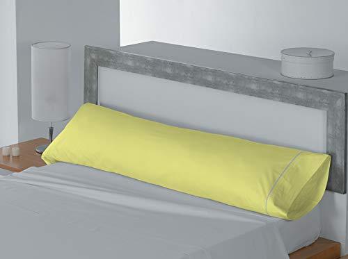 Lucena Cantos - Funda de Almohada Coordina, Colores Lisos Amarillo, Almohada 90 cm, 110 x 45, Pack...
