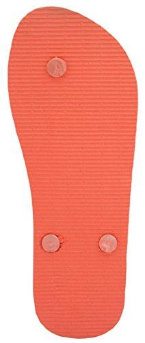 Sandrocks Damen Bold Flower Print Flip Flop Orange
