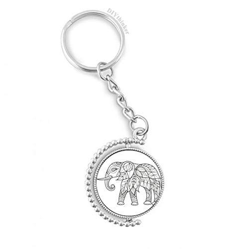 DIYthinker Malen Elephant Freund Tooth Drehbare Schlüsselanhänger Ringe 1.2 Zoll x 3.5 Zoll ()