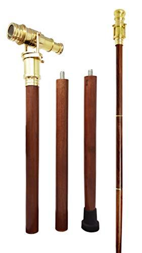 Bastón caminar telescopio plegable latón, madera