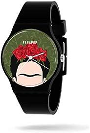 PANAPOP | VIVA LA VIDA | Polshorloge Vrouwen | Horloge Dames | Siliconen | Frida Kahlo | Zwart