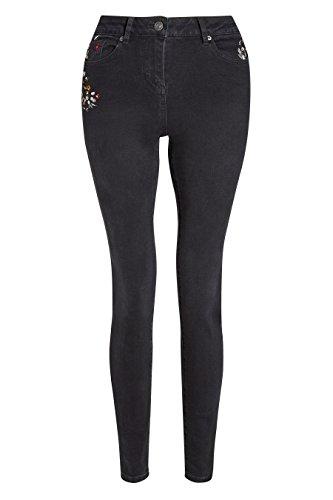 next Donna Jeans Con Fiori Ricamati Nero Sbiadito