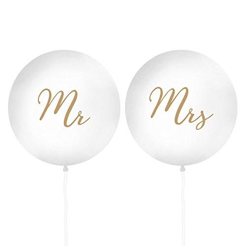 XXL Luftballons 'Mr & Mrs' Gold 100 cm (2 Stück) Hochzeit Hochzeitsdeko Vintage Fotos