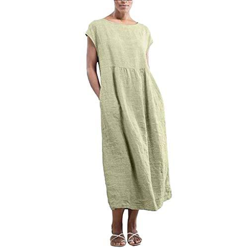 Overdose Damen Freizeit Kleider Leinenkleider 1/2 Ärmel Rundhals Einfarbig Casual Urlaub Sommerkleider Strandkleid Midi Dress Frauen kostüme übergröße (EU 42/CN XL, X-Grün)