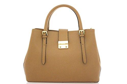 DesiDo® Designer Handtasche Henkeltasche Schultertasche mit 3 Fächern Lederhandtasche Echtleder Made in Italy in verschiedenen Farben (Cognac) (Evening Bag Fendi)