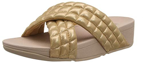 FitFlop Damen Lulu Padded Shimmy Suede Slides Sandalen, Pink (Rose Gold 323), 39 EU -