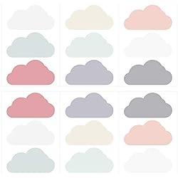 Wandtattoo Kinderzimmer Wandsticker Set Wolken in Zarten Pastelltönen Stück WOL
