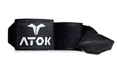 ATOK Boxbandagen (4,5 M) mit Daumenschlaufe - Halb Elastische Boxing Wraps mit Extra Breitem Klettverschluss & zweifach Naht - Box Bandage für MMA, Kickboxen, Thai Boxen, Boxen - AIBA-/DBV-Norm