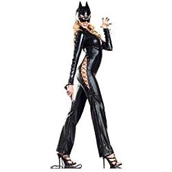 Piel Manga Larga Sexy Negro Jumpsuits Cordones Halloween Animal Party Cosplay Disfraz