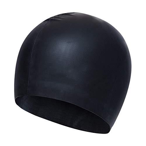 Coolzon Silikon Schwimmkappe für Erwachsene, Wasserdicht und Anti-Rutsch Schwimmhaube für Männer und Lange Haare Frauen Schwarzer Hut