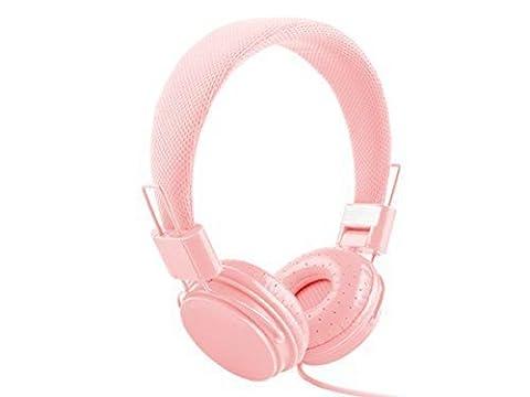 Headband Lightweight Stereo Foldable Headphones with Microphone and Remote Control Headband Headphones 3.5mm Cartoon Earphone Headset Dj Headphones (pink)