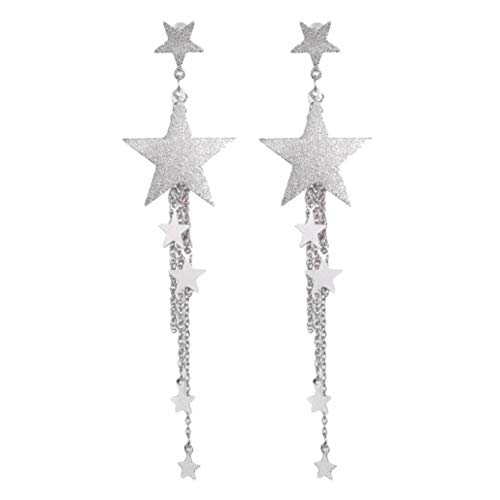 URSING Shooting Star Strass Lange Quasten Drop Haken Baumeln Ohrringe Drop Hook Ohrringe Vintage Hohe Qualität Ohrringe Hängend Modeschmuck Fashion Jewelry für Hochzeit Verlobung Party (Silver)
