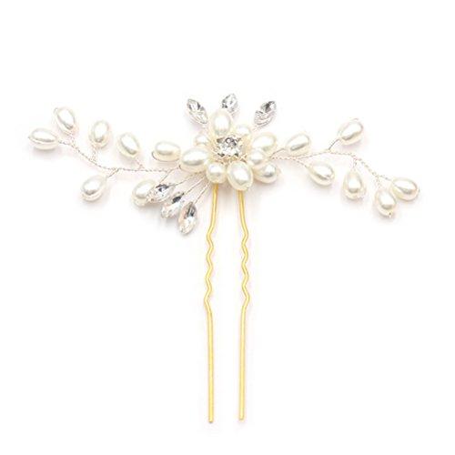 OULII Broche de Cheveux de Mariage Strass Cristal Perles Travail Manuel U Dossier Dossier Coiffure de Mariée Accessoires de Cheveux (Blanc)