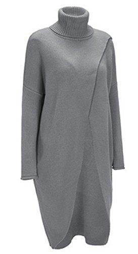 AGOGO 2017 Herbst Winter Casual Langarm Cardigan Tops Poncho Strick Asymmetrisch Sweatshirt Pullover Umhang Überwurf Strickmaterial mit Zierfransen (Grau, DE 52)