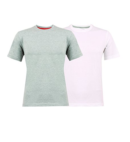Clifton Tag Mens Pack Of 2 R-Neck T-Shirt -White-GreyMelange -XXL