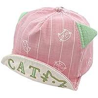 FOUGNOGKISSS Gorra de béisbol para Orejas de Gato de la Raya del niño Gorra de protección para el Sol de protección Solar para 6-36 Meses (Color Rosa) (Color : Pink, tamaño : 45-49cm)