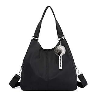 Multi-function Nylon Traveling Crossbody bag and Handbag Organzier Women Hobo Bag Big Capacity Waterproof Shoulder Tote Bag(Black)(Size: 14.5 x 5.5 x 13.4)