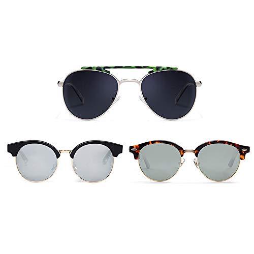 Grww ofd Sonnenbrille für Frauen, 3 Teile/Satz Polarized Vintage Oversize Eye Wear für Männer,A
