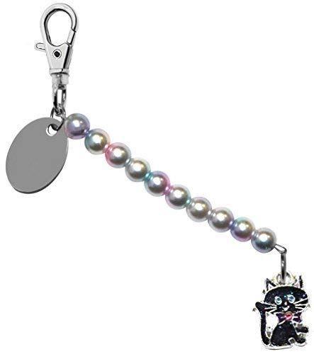 t Funkelnde Halloween Katze Perlglanzfarbe Perle Schlusselring / Handtaschen Anhänger in Geschenk Beutel BD6PL158 ()