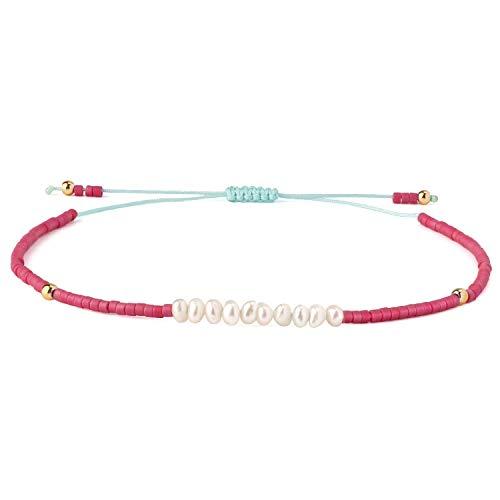 KELITCH Frauen Armbänder für Mädchen Männer Shell Perle Japanische Rocailles Charme Freundschaft Armbänder Handgemachte Verstellbare Schnur Armband - Rot T