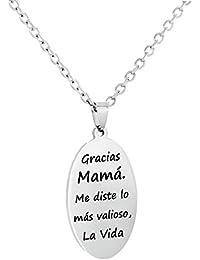 c2281094d407 Regalo Día de la Madre. Colgante Collar de Acero Inoxidable Antialérgico