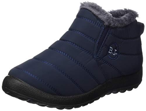 JOINFREE Damen Warme Schneestiefel Warme Flache Ferse Schuhe Oxford Tuch Vamp Marine, 43 EU - Rot Mitte Der Ferse