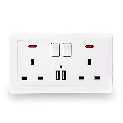 Lâ Vistmon UK Mains Double Plug Socket and 2 Port USB Power Wall Plate 2-port-wall Plate