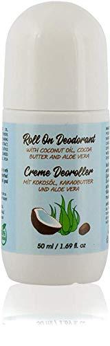 Natürliche Creme Deoroller Für Männer und Frauen mit Aloe Vera, Kokosöl und Kakaobutter. Reisegröße, 50 ml