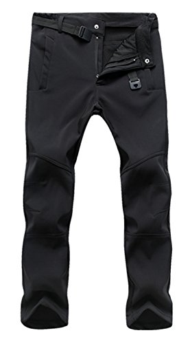 donhobo Men's Outdoor Sports Cargo Pants Softshell Waterproof Breathable Quick Dry Climbing Hiking Fleece Trousers