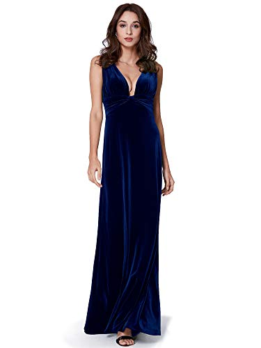 Ever-Pretty Damen Sexy Doppel-V-Ausschnitt Samt Abendmode Kleider 36 Größe Mitternachtsblau