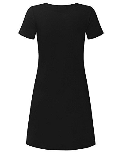 StyleDome Femme Mini Robe Coton Eté Tunique de Cocktail Col V Manches Courtes Trapèze Slim Casual Vintage Noir