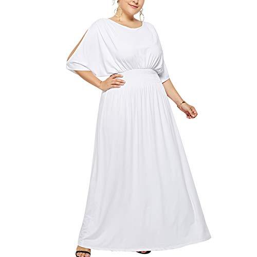 Langen, Weißen Maxi-kleid (Lover-Beauty Damen Elegant Abendkleid Cocktailkleid Maxi Lang Festlich Kleider Sommerkleider Einfarbig Partykleid Weiß L)