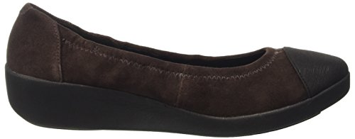 FitFlop  F-pop Tm Ballerina Stratus, Ballerine à bout ouvert femme Marrone (Dark Brown)