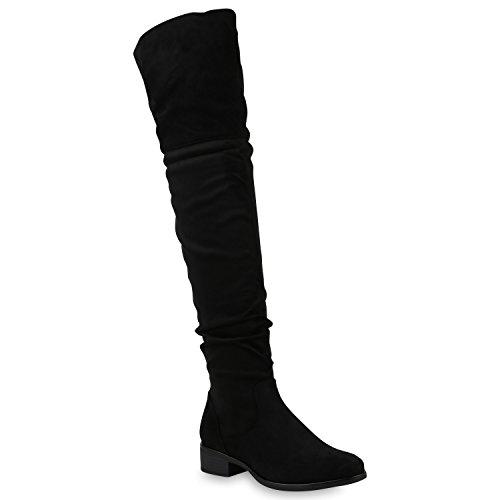 Damen Overknees Stiefel Leicht Gefüttert Schuhe Wildleder-Optik 147586 Schwarz Basic 38 Flandell