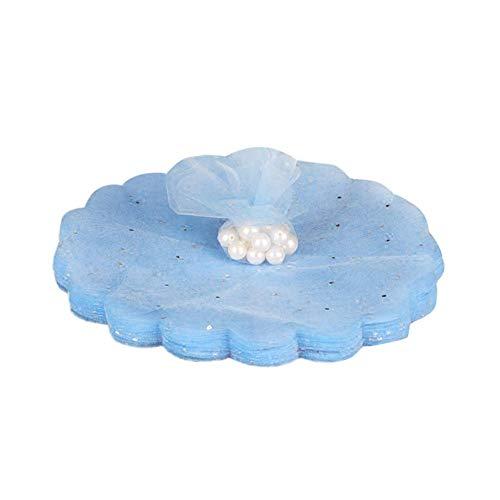 Funihut - 100 veli di Tulle Rotondo in Organza con Paillettes, per Confetti, bustine di Caramelle, per Matrimonio, Battesimo, Festa, Compleanno, Blu