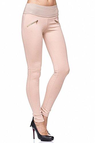 Elara Damen stretch Hose |High Waist| Skinny Jegging | hoher Bund | Slim Fit | Chunkyrayan A08-8 Beige 40